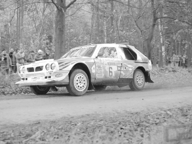 1985 Lombard RAC Rally. Henri Toivonen and Neil Wilson power their Lancia Delta S4 through Clumber Park on their way to victory.