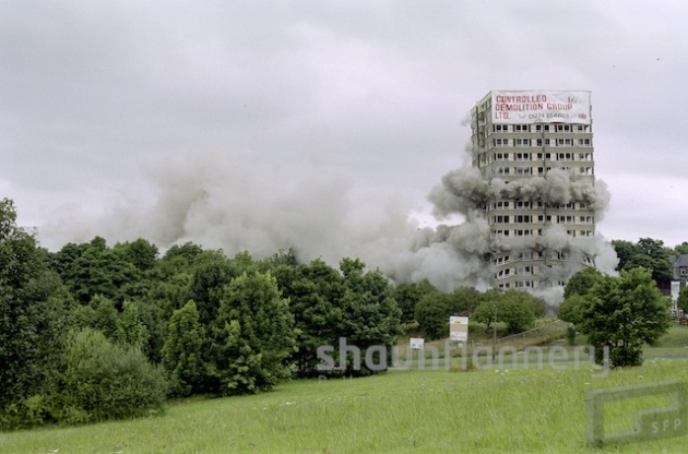 Demolition of tower blocks at Norfolk Park, Sheffield.