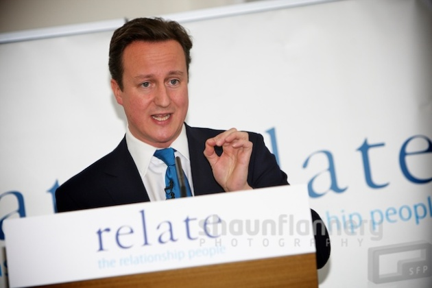 Relate - The Prime Minister, David Cameron addresses a group at the Shine Centre in Leeds.