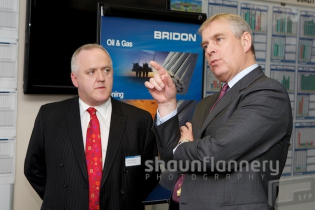 His Royal Highness Prince Andrew visits Bridon International's unit at Carr Hill, Doncaster.